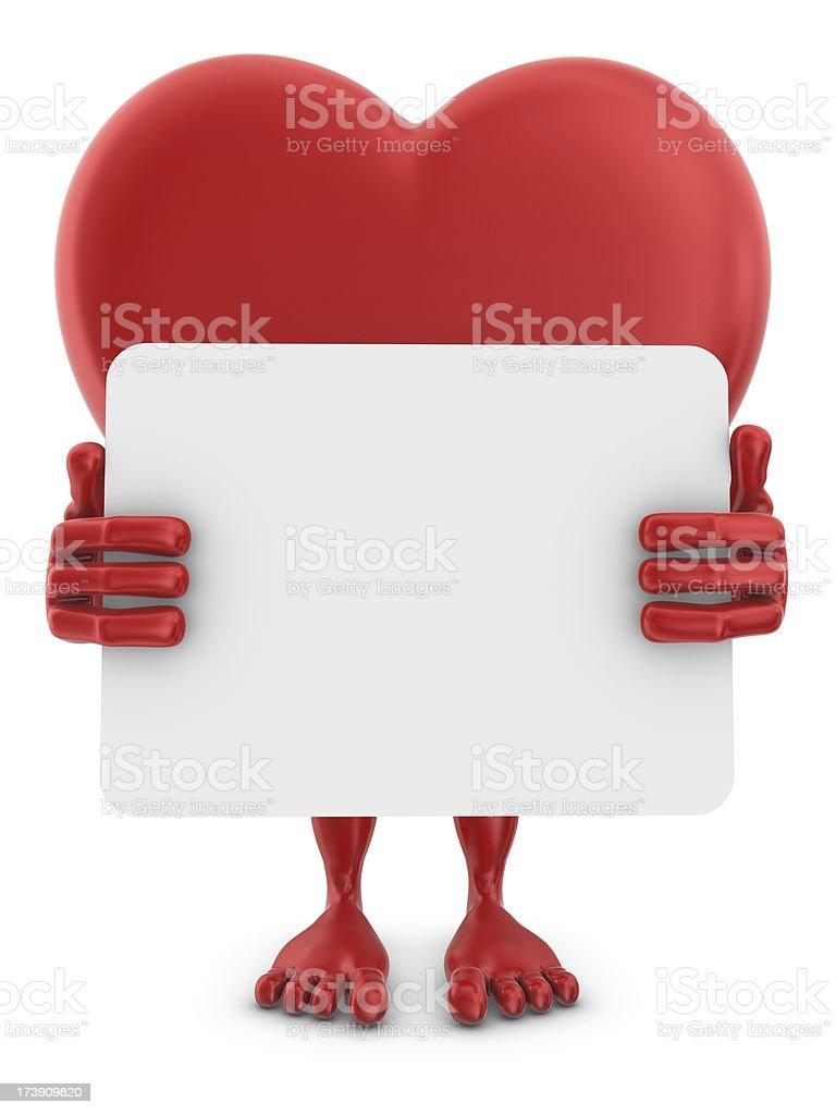 heartman holding whiteboard stock photo