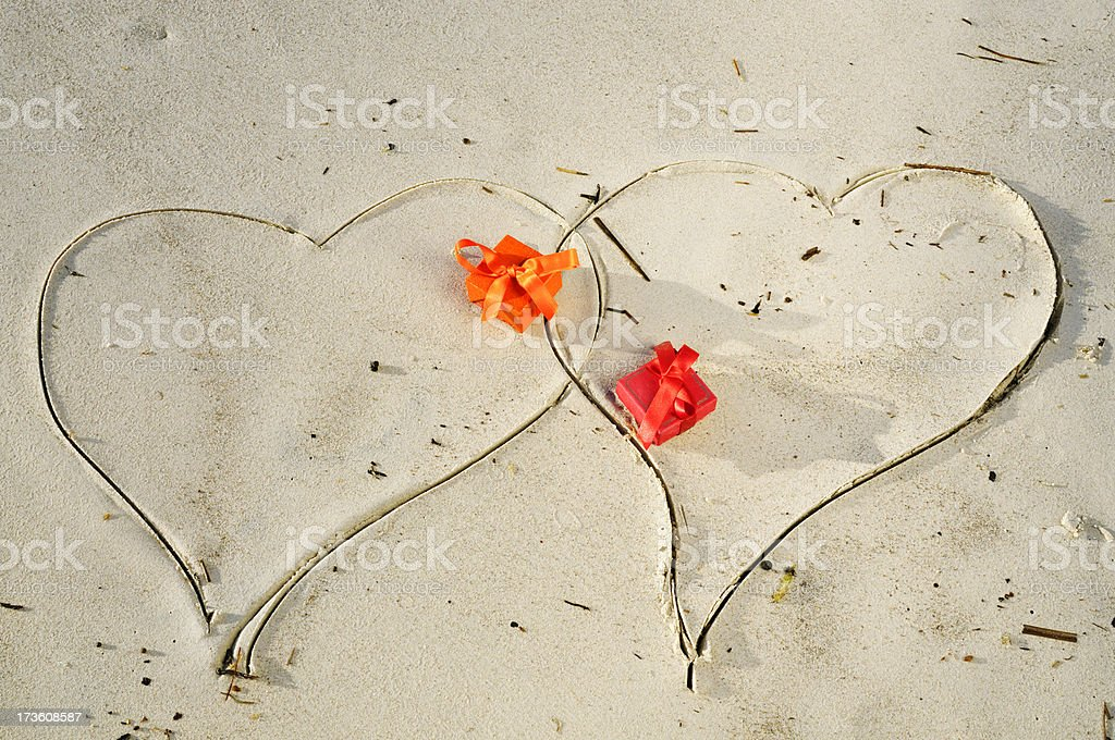 Hearts and Gifts on the Beach.Copy Space royalty-free stock photo