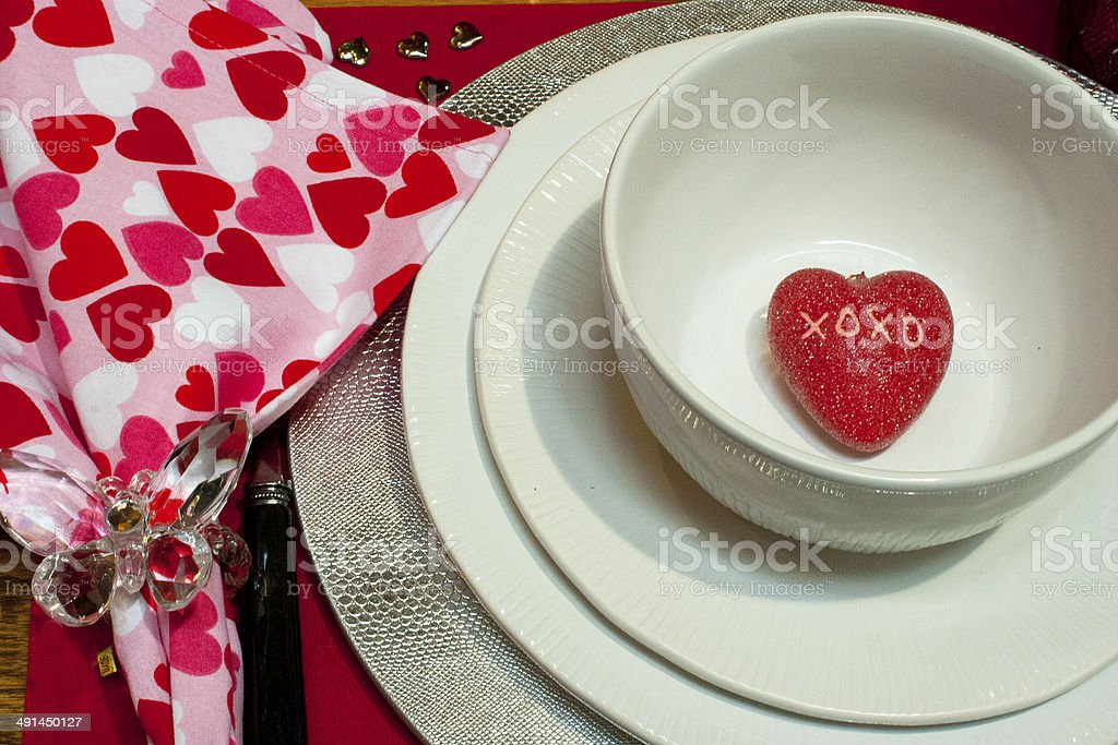 Hearts and plates stock photo