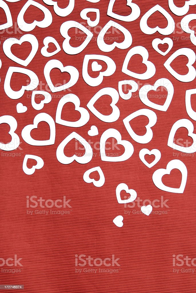 Hearts Falling on Red Background royalty-free stock photo