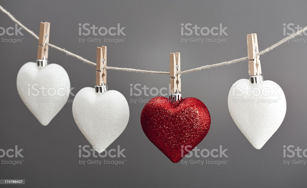 Hearts hanging on clothesline royalty-free stock photo