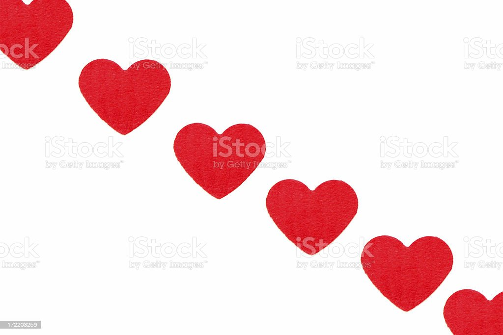 Hearts in a line for Valentine´s day royalty-free stock photo