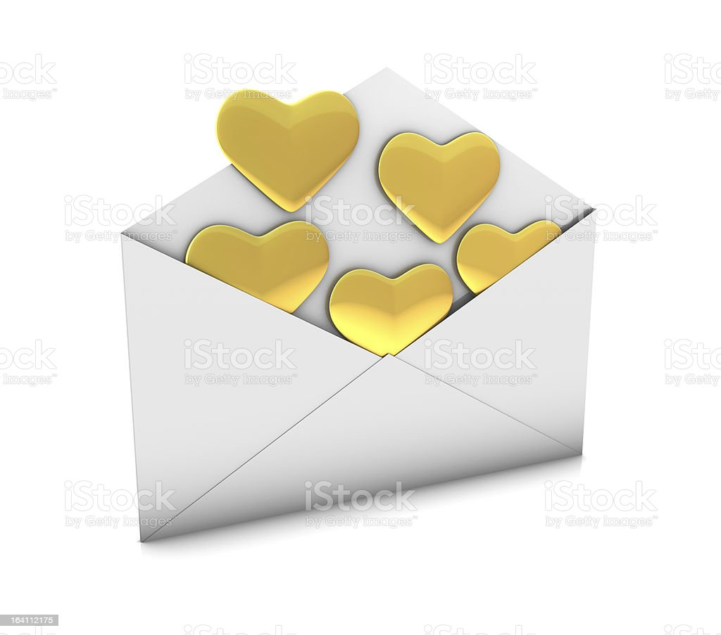 Hearts in Envelope royalty-free stock photo