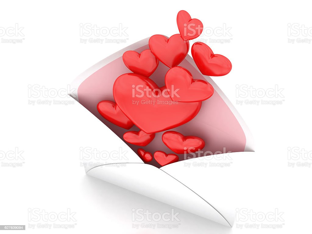 Hearts in envelope stock photo