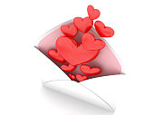 Hearts in envelope