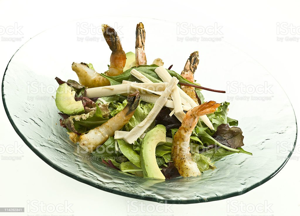 Hearts of Palm, Avocado and shrimp salad stock photo