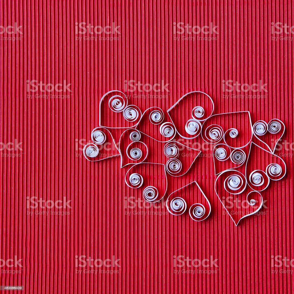 Hearts of  paper quilling  for Valentine's day royalty-free stock photo