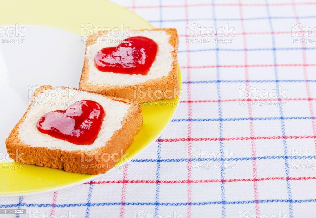 Hearts on toast stock photo