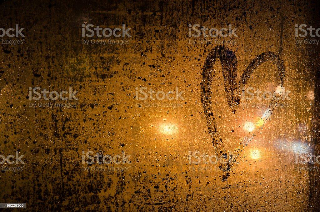 hearts on window stock photo