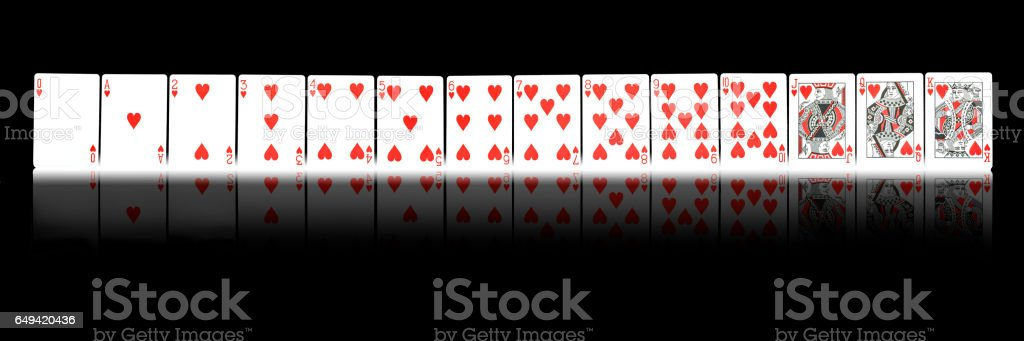 Hearts playing cards  wallpaper panoramic stock photo