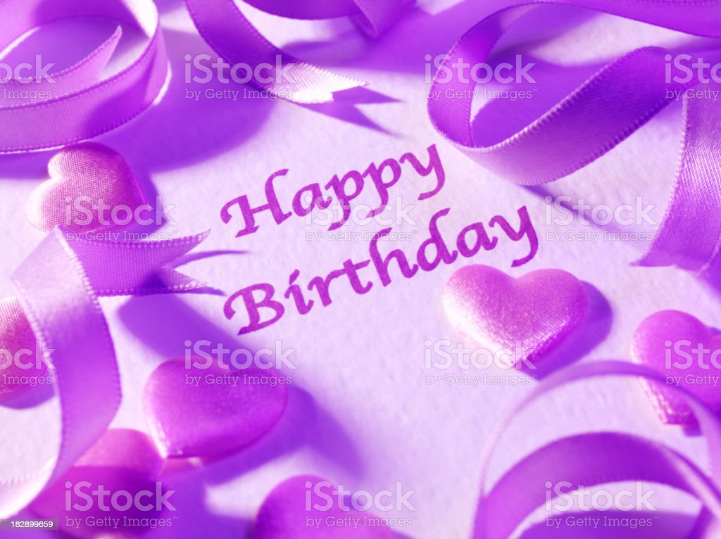 Hearts Ribbon and Happy Birthday royalty-free stock photo