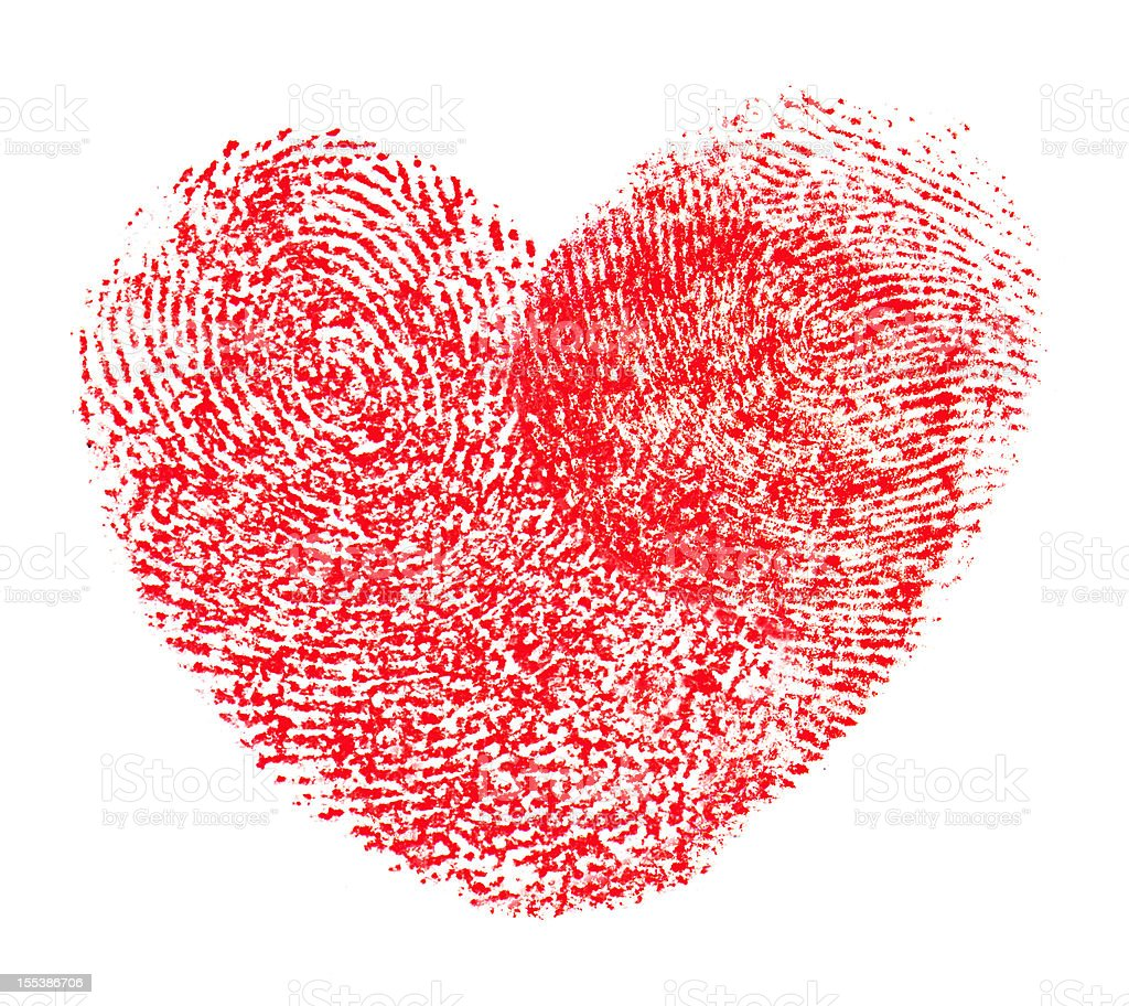Hearts shape fingerprint stock photo