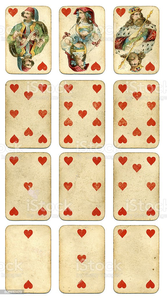 Hearts suit Four Continents playing cards by Dondorf 1900 stock photo