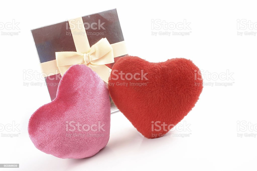 Heartsand gift royalty-free stock photo