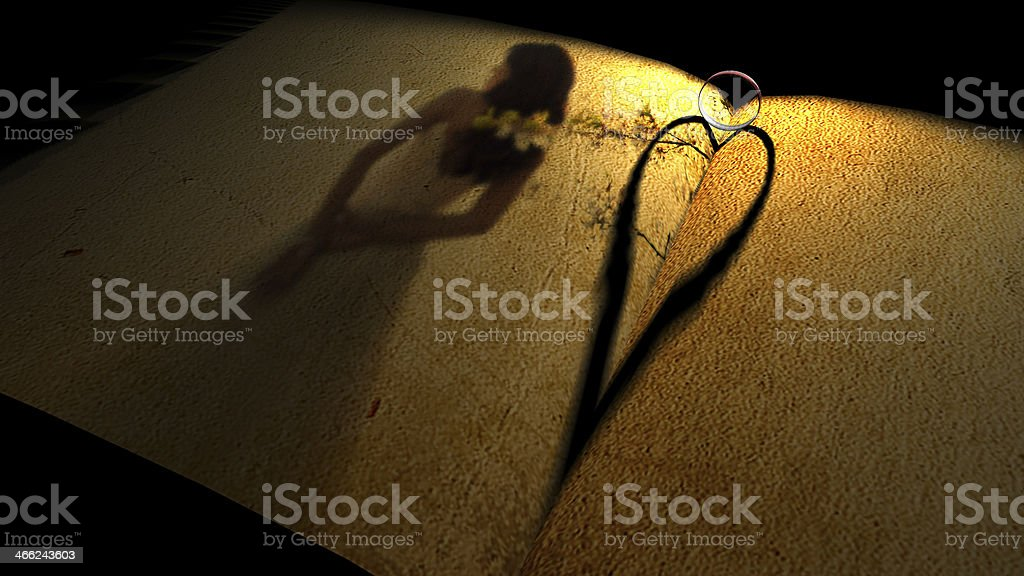 heartshadow with rings on a book royalty-free stock photo