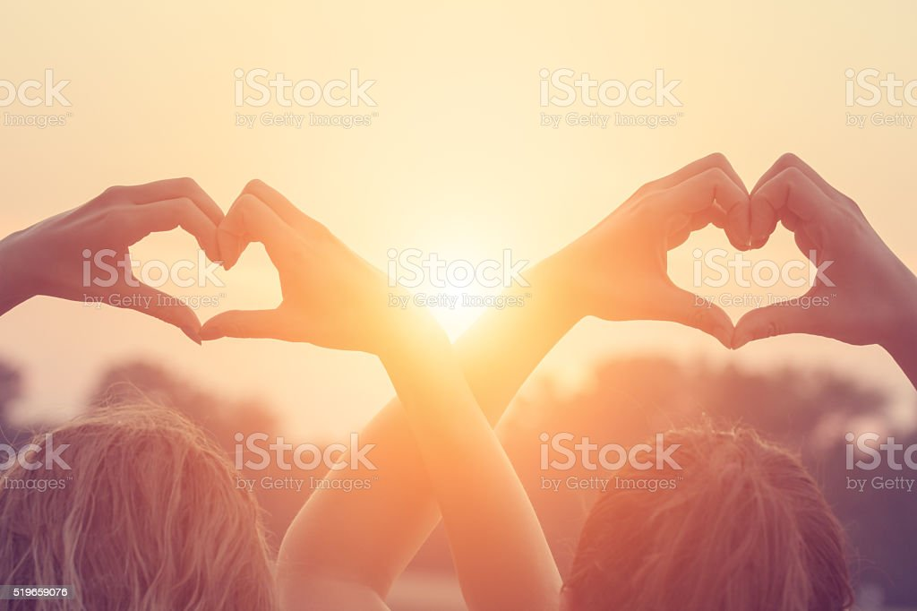 Heart-shape for the sun. royalty-free stock photo