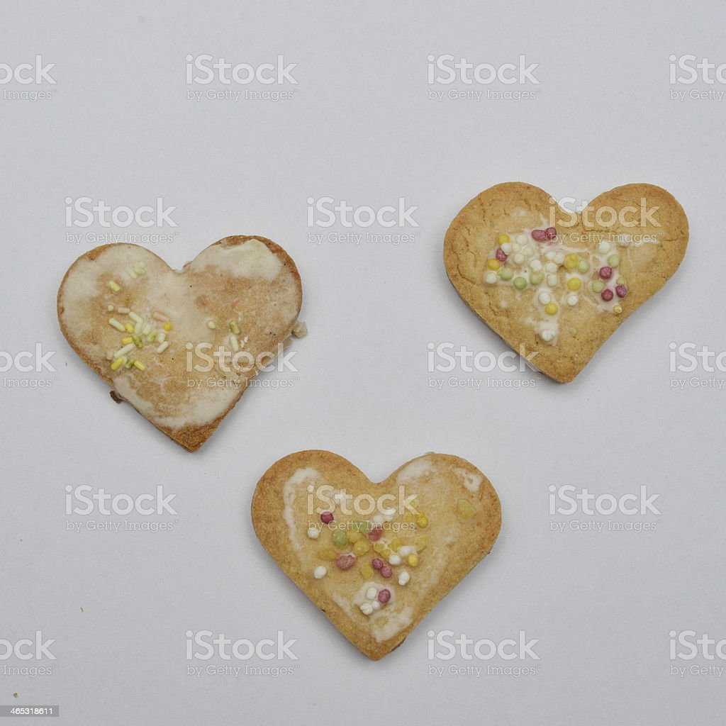 Heart-shaped Buttercookies stock photo