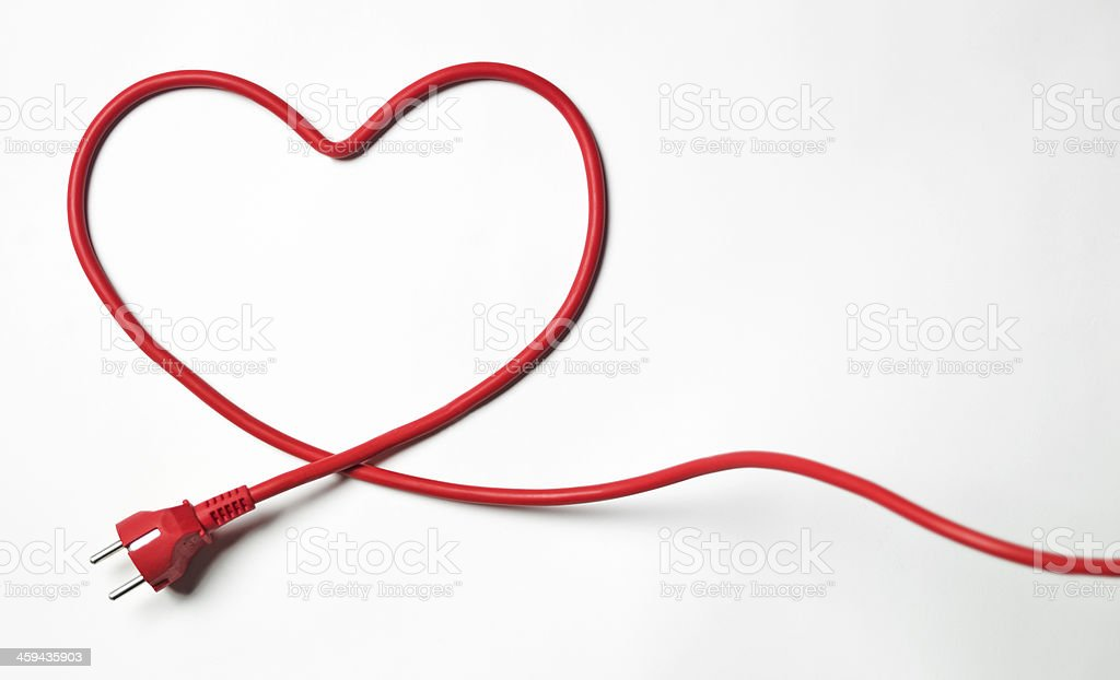 Heartshaped cable stock photo