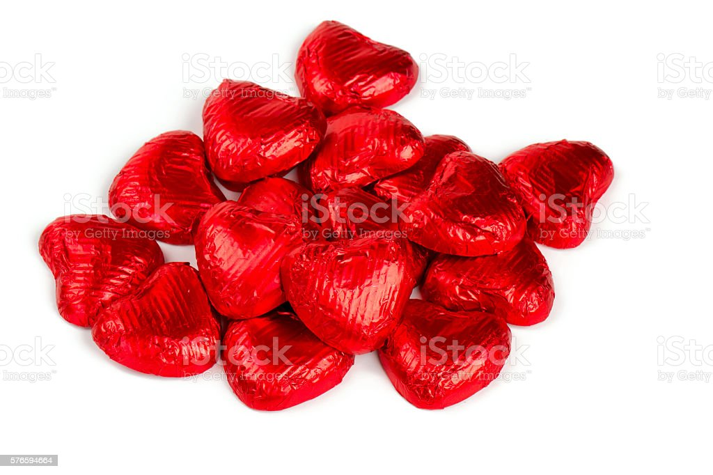 heart-shaped candies isolated on white stock photo