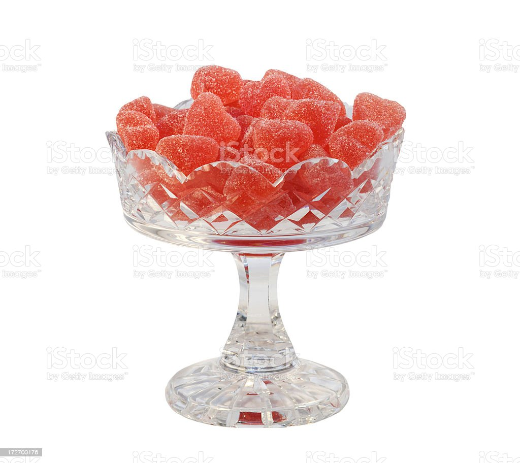 Heartshaped candy in antique crystal bowl. royalty-free stock photo