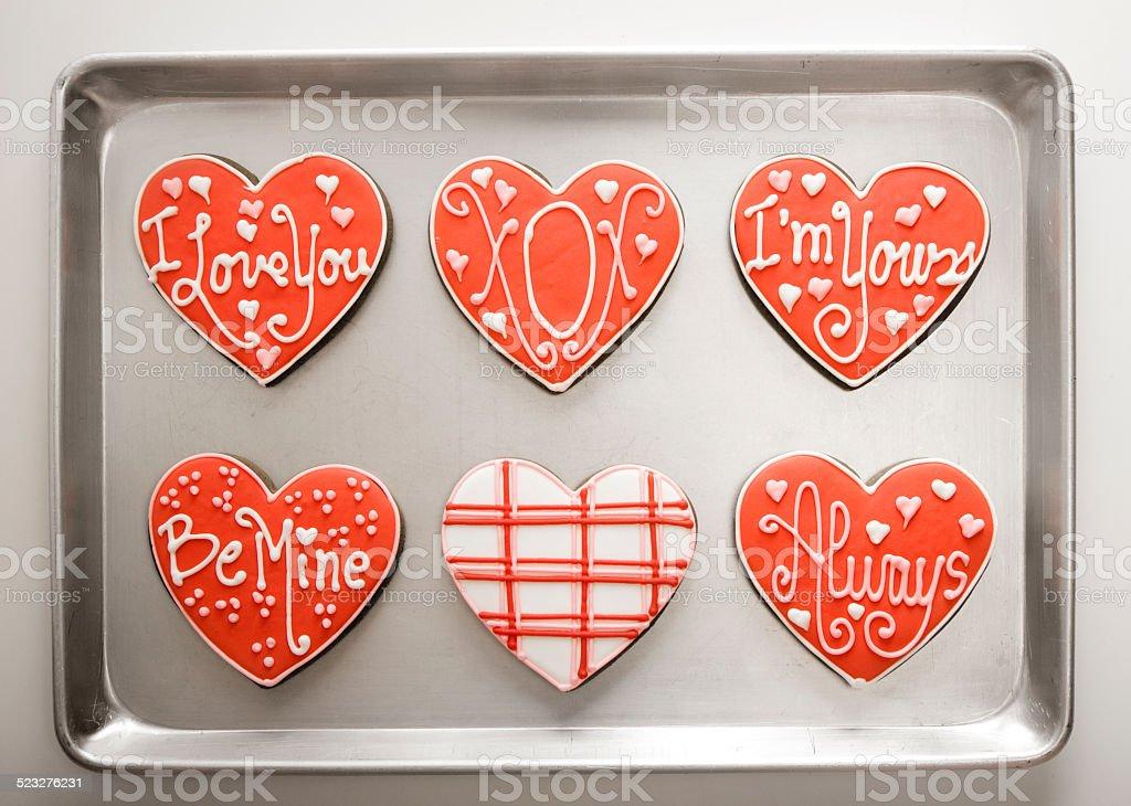 Heart-Shaped Cookies on Baking Tray stock photo