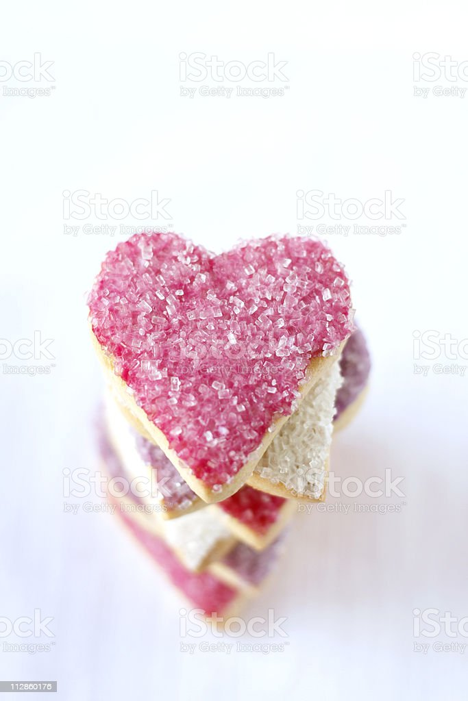 heart-shaped cookies stock photo