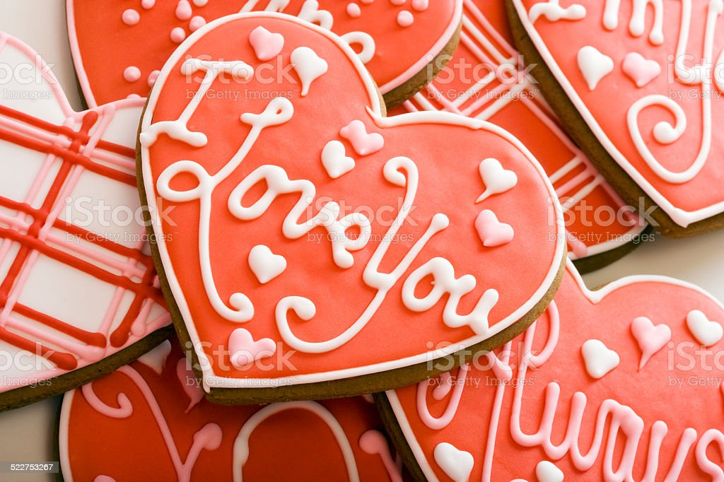 Heart-Shaped Cookies With Red Icing stock photo