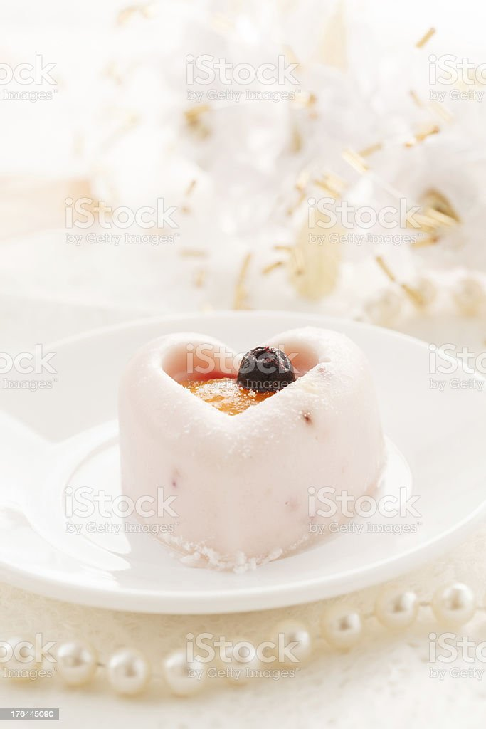 Heart-shaped dessert for Valentine's Day stock photo