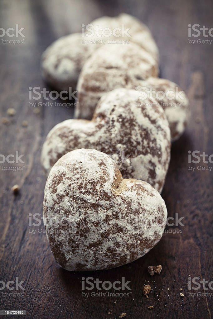 Heart-shaped gingerbread royalty-free stock photo