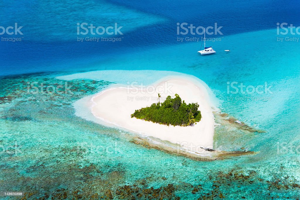 heart-shaped island in the Caribbean - perfect honeymoon destination stock photo