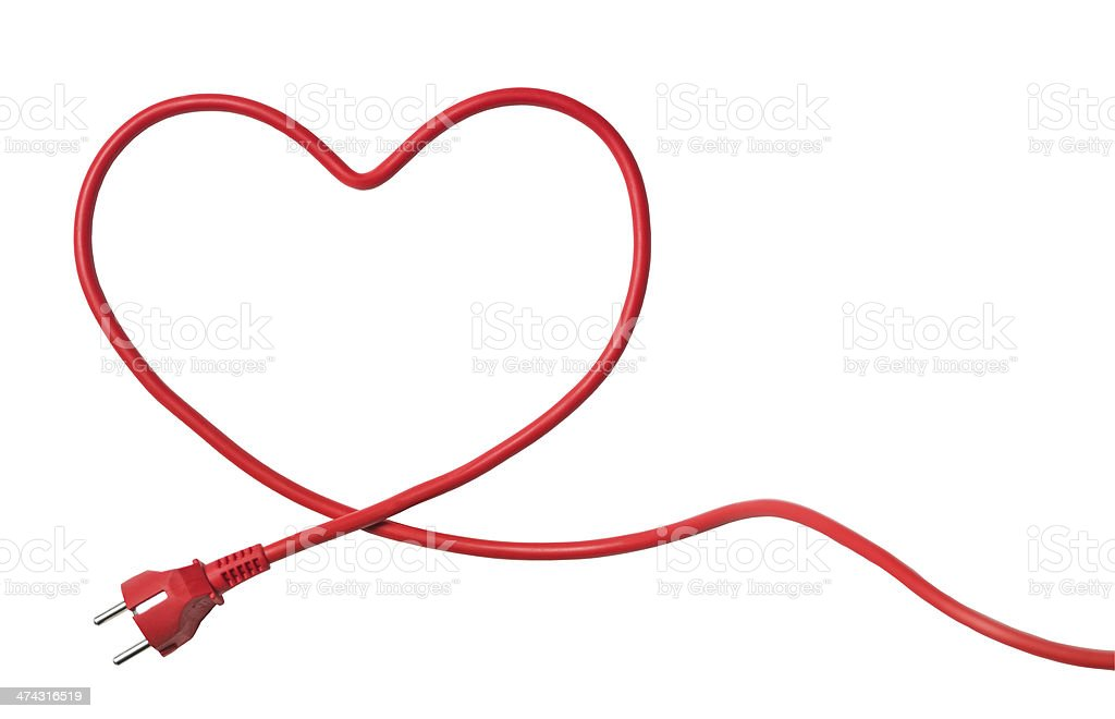 Heartshaped Power Cable stock photo