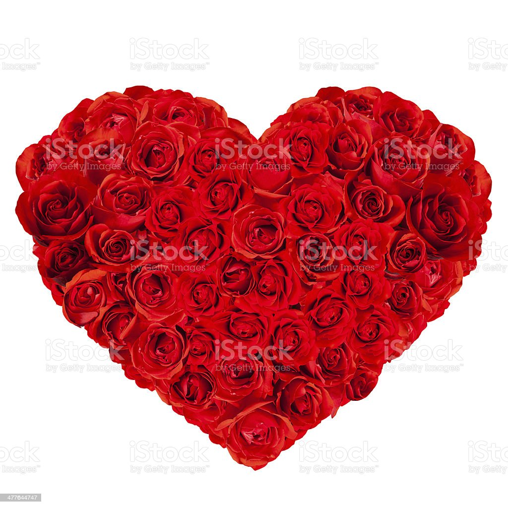 Heart-Shaped Red Rose Bouquet stock photo