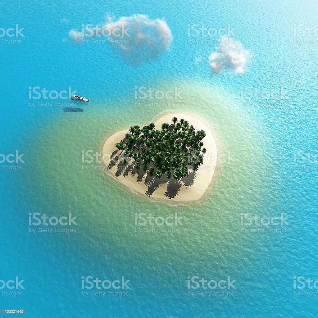 heart-shaped tropical island stock photo