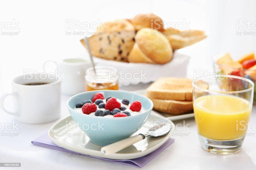A hearty, balanced breakfast spread royalty-free stock photo