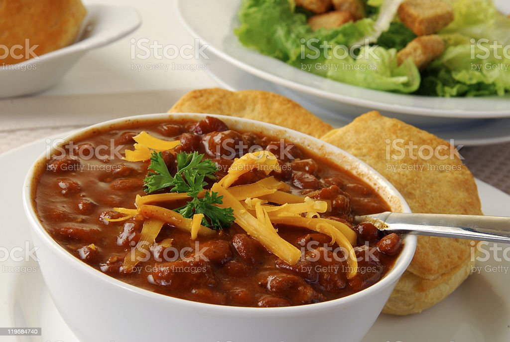 Hearty bowl of chili royalty-free stock photo