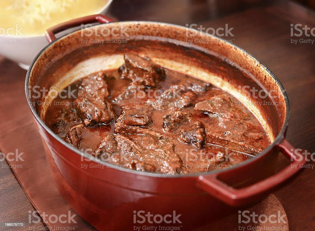 Hearty Braised Beef Short-ribs stock photo