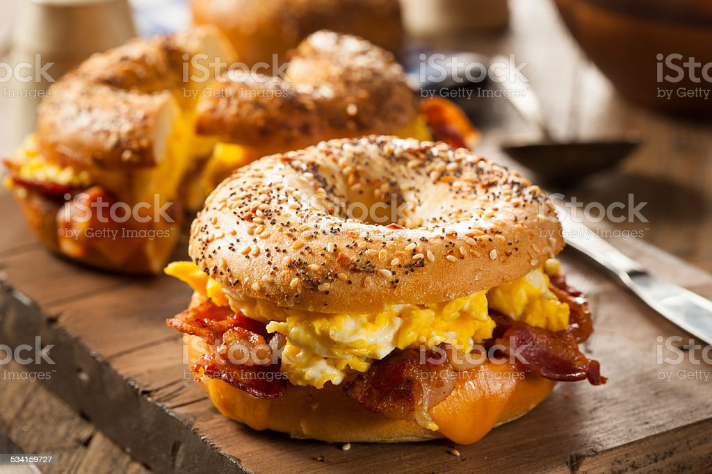 Hearty Breakfast Sandwich on a Bagel stock photo