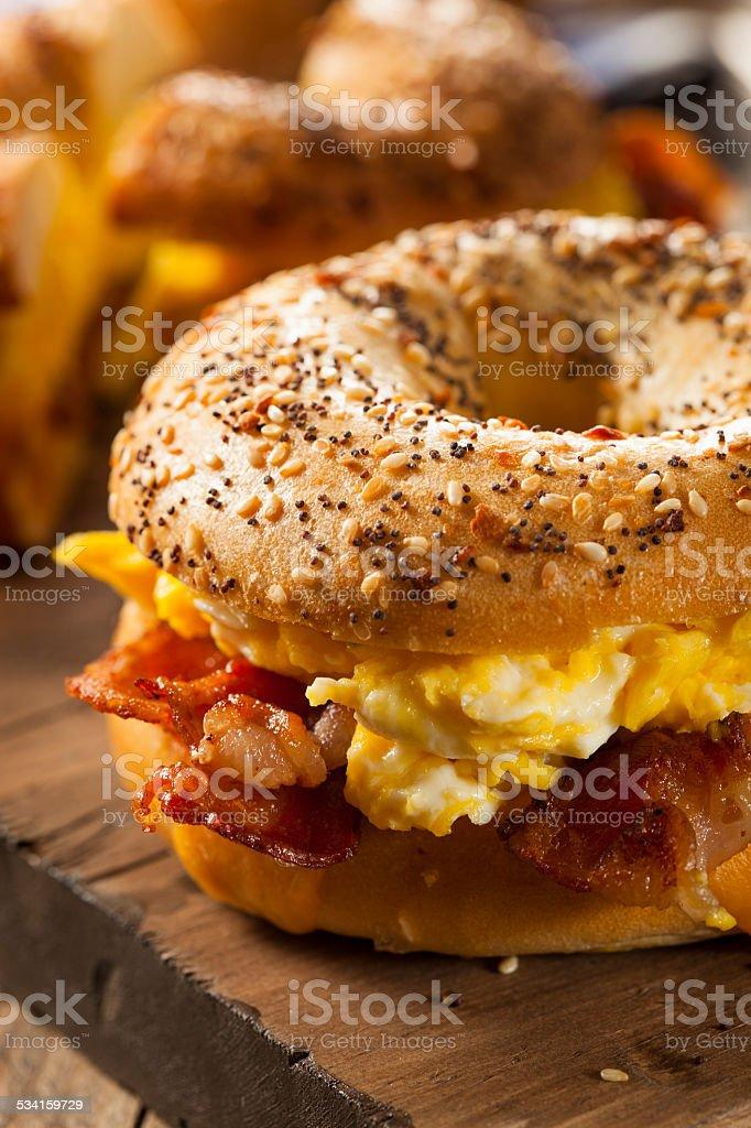 Hearty Breakfast Sandwich on a Bagel stock photo
