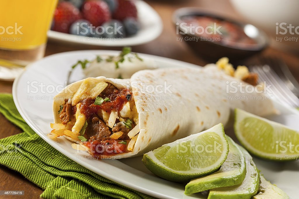 Hearty Chorizo Breakfast Burrito stock photo