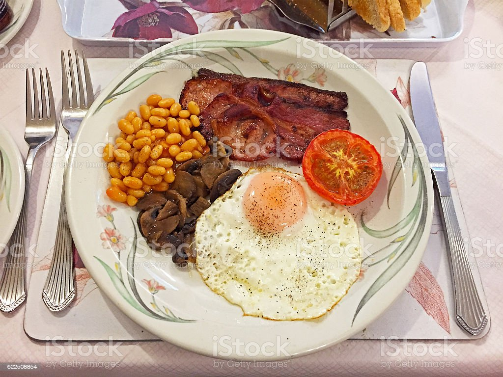 Hearty full English breakfast in Cornish B&B stock photo