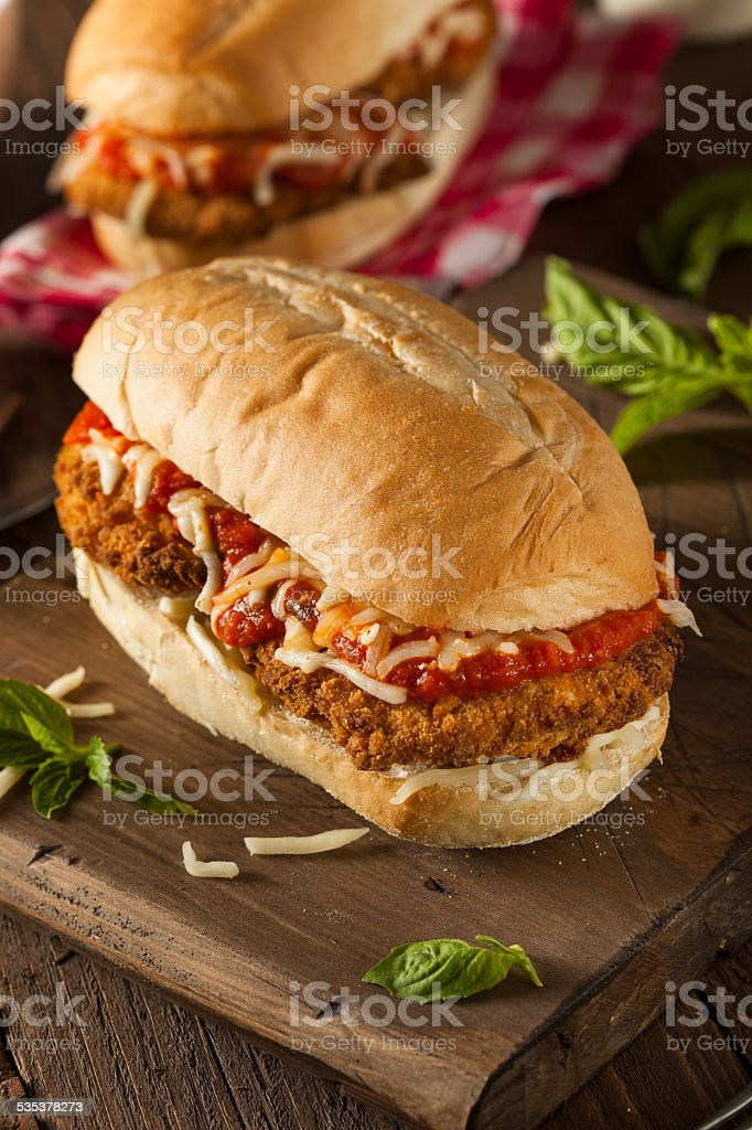 Hearty Homemade Chicken Parmesan Sandwich stock photo