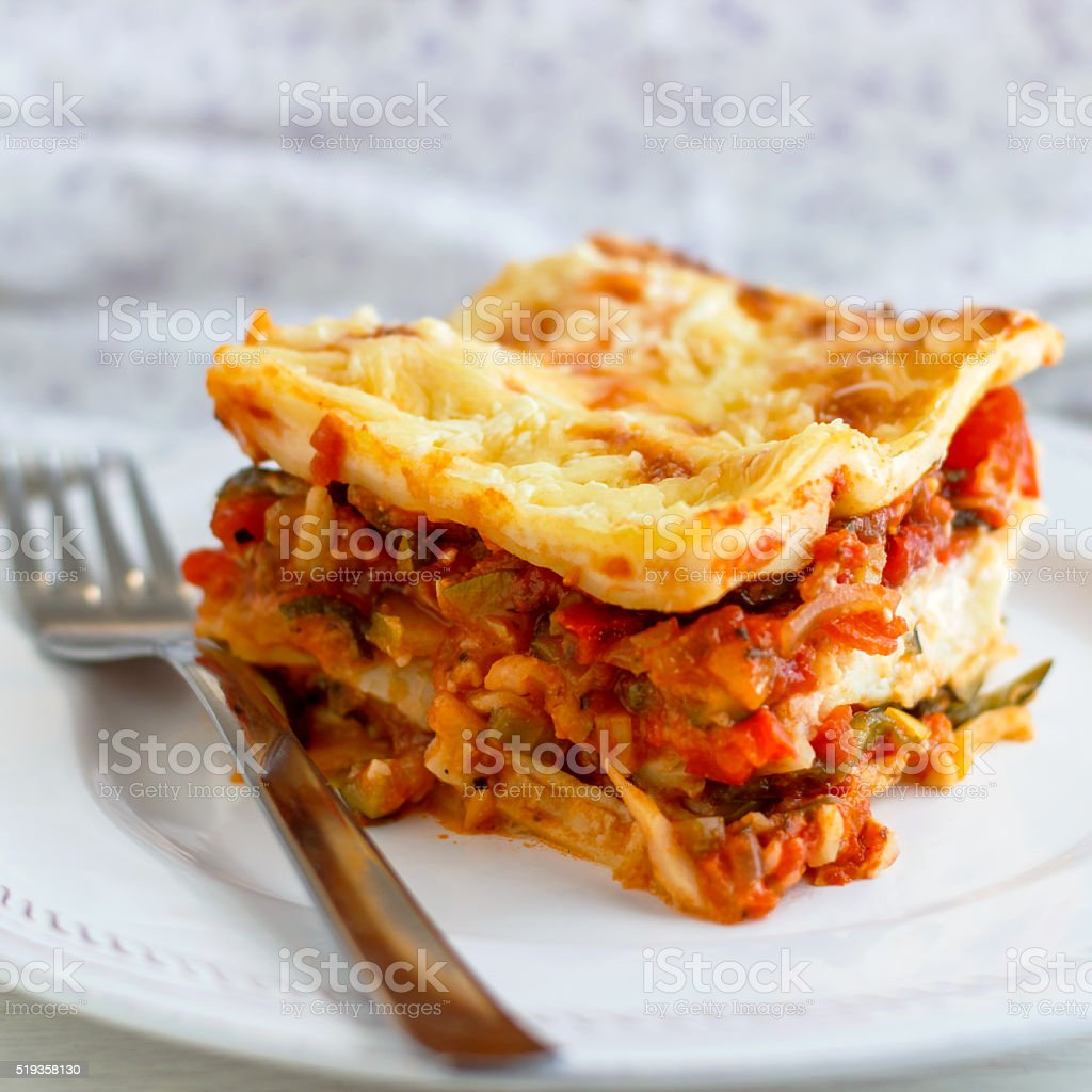 Hearty Homemade Vegetable Lasagne stock photo