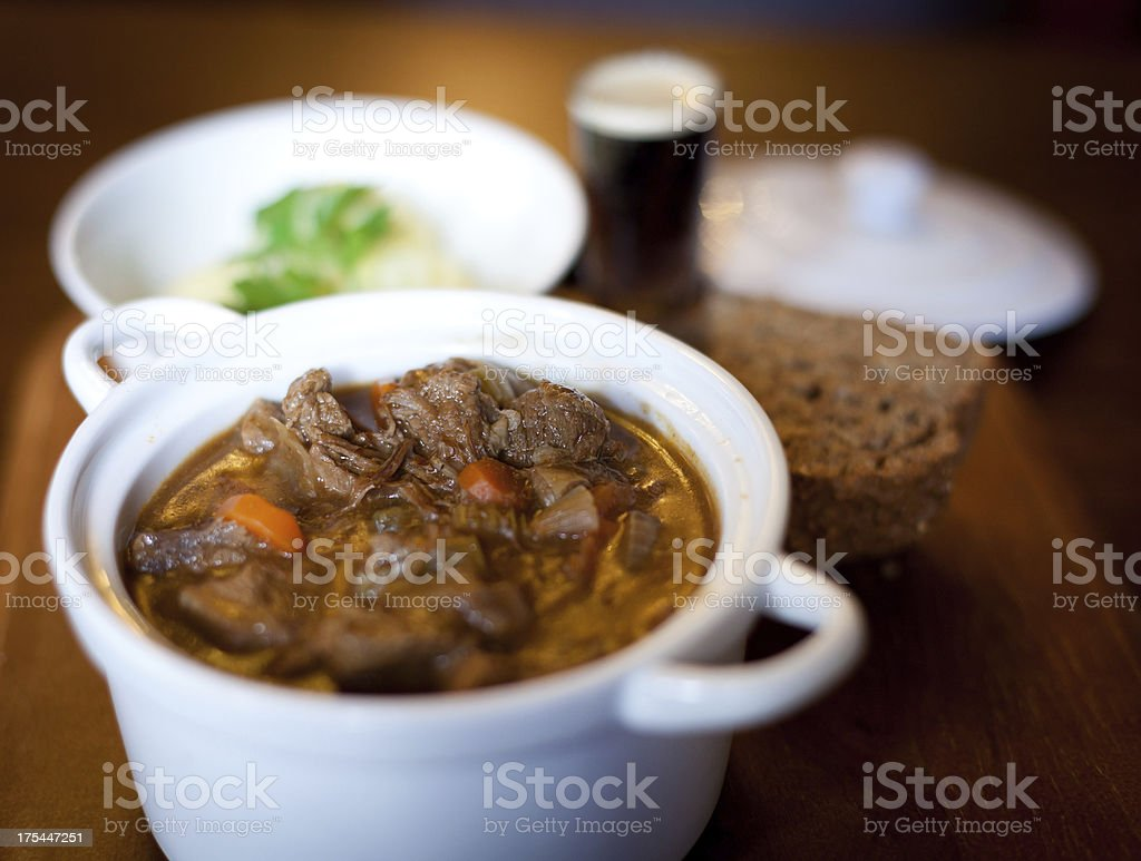 Hearty meal of Irish beef stew stock photo