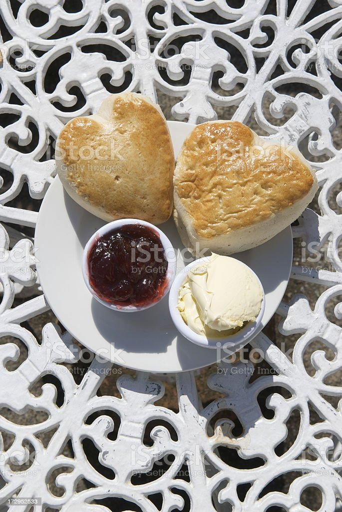 Hearty Scones with Jam and Cream royalty-free stock photo