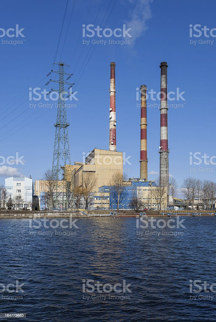 Heat and power plant chimneys. royalty-free stock photo