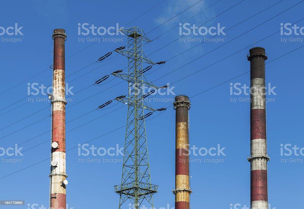 Heat and power plant chimneys. royalty-free stock photo