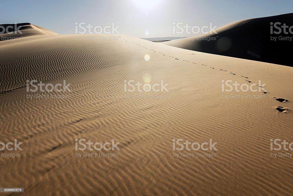 Heat at Erg Chebbi Sand Dunes, Morocco,  Africa royalty-free stock photo