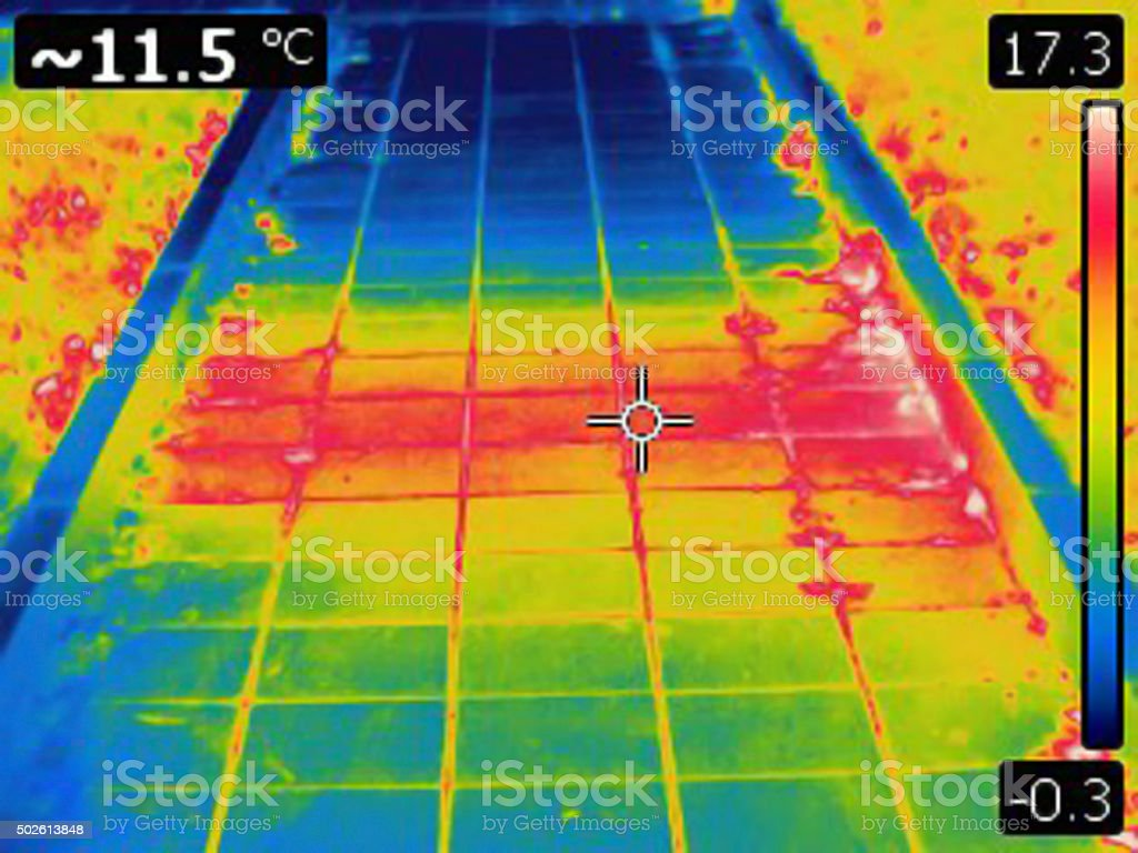 Heat emission from underground hot water pipe stock photo