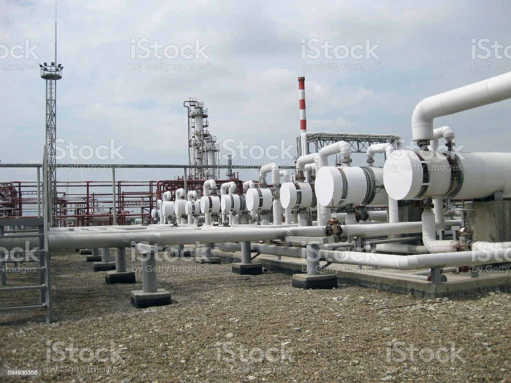 Heat exchangers in a refinery stock photo