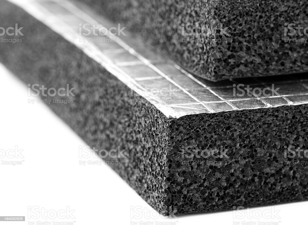 Heat Insulation Slab with Foil sheet stock photo